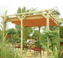 Pergola awning with canopy.