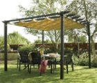 Metal pergola kit with retractable awning.