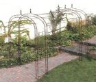 Metal pergola kits and wrought-iron pergola kits.