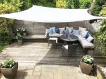 Stylish outdoor seating area.