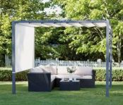 modern pergola with a panelled roof.