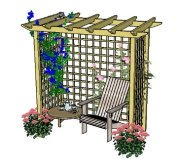 Copyright image: A wonderful arbour with seat and climbing plants.