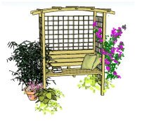 Copyright image: A beautiful arbour with seat, trellis and curved rafters.