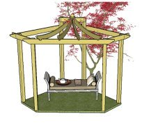 Copyright image: an Asian pergola with beautiful curved rafters.