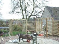 Copyright image: Pergola construction with trellis.