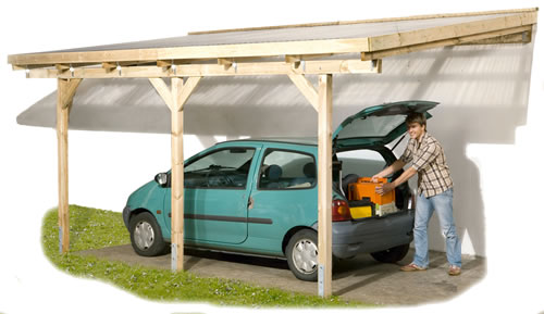 An attached lean-to carport.