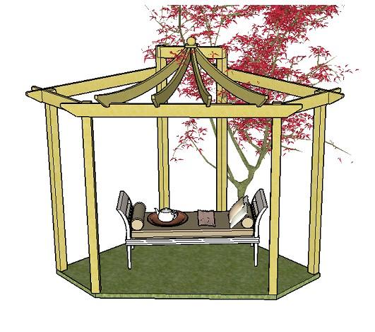 asian pergola plans. Black Bedroom Furniture Sets. Home Design Ideas