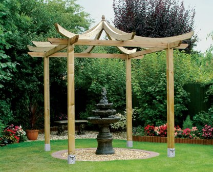 Asian dragon pergola with curved rafters.
