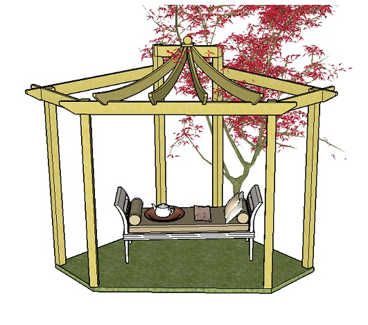 Copyright image: An unusual Asian corner pergola, with beautiful curved rafters, created from the step-by-step pergola plans.