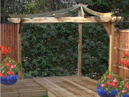 Copyright image: An unusual Asian corner pergola adapted from the step-by-step pergola plans.
