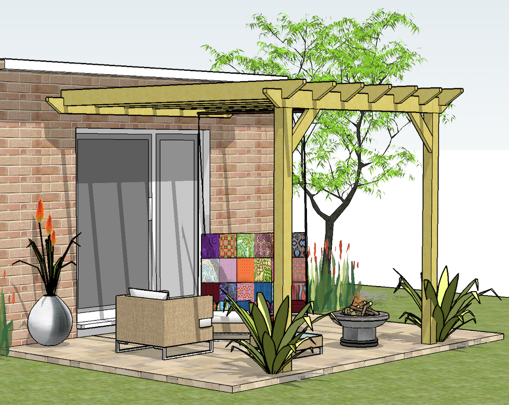 Copyright image: An attached pergola made from the plans, with a beautiful swing bench and accessories.