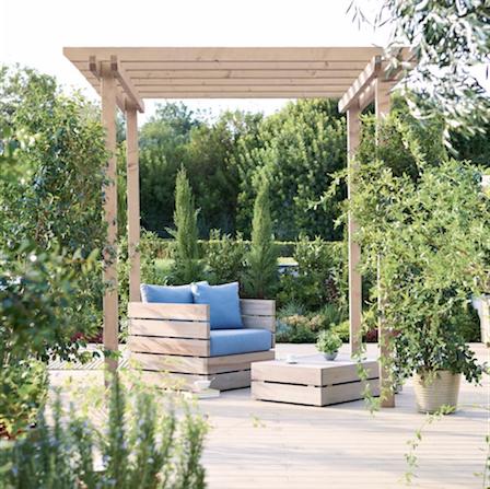 Modern pergola feature for a contemporary garden design.