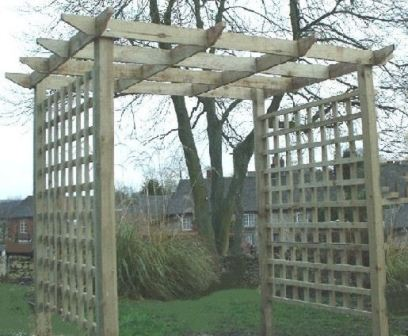Copyright image: Traditional wooden pergola design construction made from the free plans.