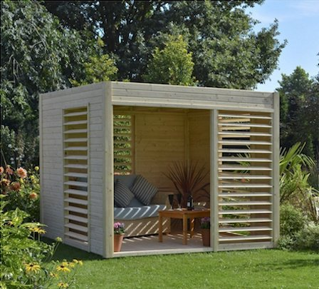 Modern pergola pod for outdoor living.