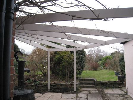 Copyright image: Corner pergola design adapted from the corner pergola plans.