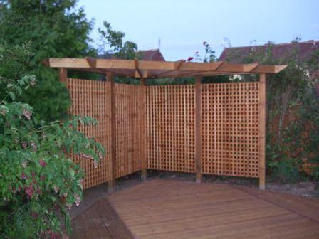 Copyright image: Corner pergola design adapted from the corner pergola plans to be three-sided.