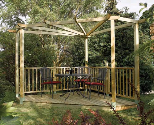 Corner pergola kit with decking.