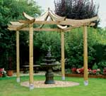 An Asian inspired pergola has fabulous curved rafters and turrets.
