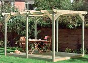 B&Q pergola with deck kit.