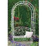 Metal arbour in cream.