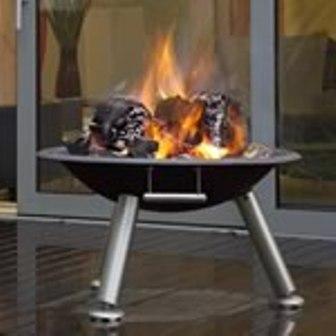 Modern terrace brazier firepit.