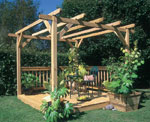 Pergola and deck combination.