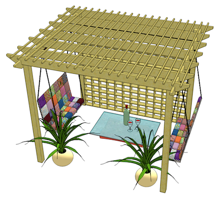 Copyright image: An fantastic pergola made from the free plans, with a beautiful swing benches and accessories.