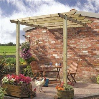 Patio pergola attached to a wall.