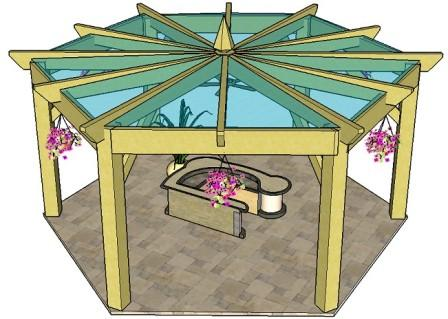 Copyright image: A hexagonal pergola with polycarbonate roof panels.