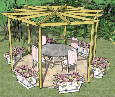 Copyright image: an hexagonal pergola, with radiating rafters, made from the step-by-step pergola plans.