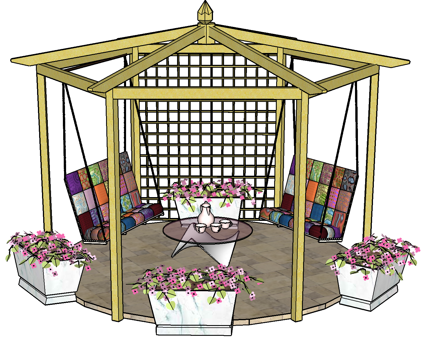 Copyright image: A beautiful pitched roof hexagonal pergola with swing bench seats and trellis panel.