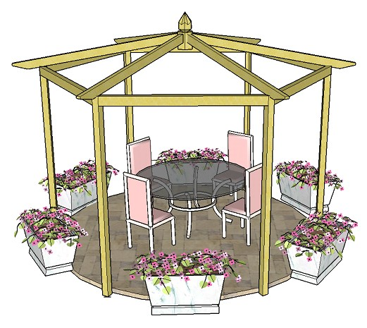 Copyright image: A beautiful pitched roof hexagonal pergola, on a patio, made from the pergola plans.