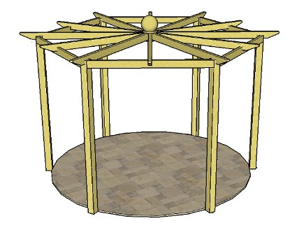 Copyright image: A hexagonal pergola, with twelve radiating rafters and finial, made from the step-by-step pergola plans.