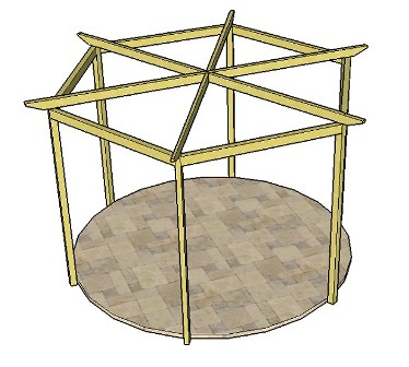 Copyright image: A hexagonal pergola, with six radiating rafters, made from the step-by-step pergola plans.