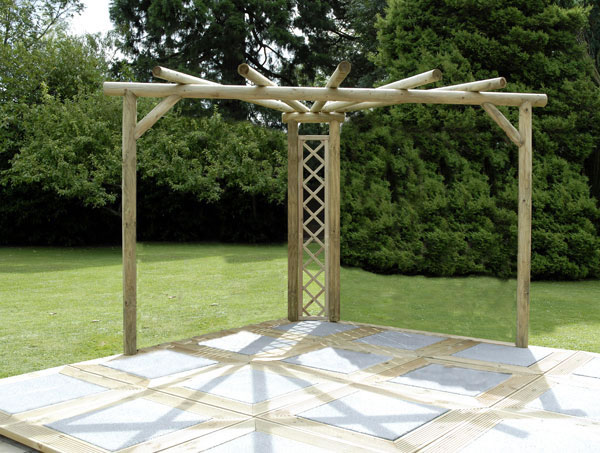 Kinlet corner pergola kit made with rustic poles.