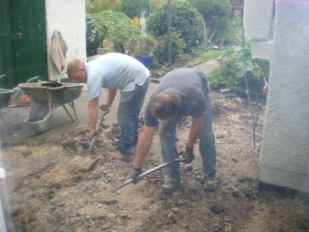 Copyright image:  Digging out ready to lay the patio.