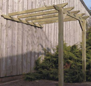 An attached lean to pergola that comes in many different sizes.