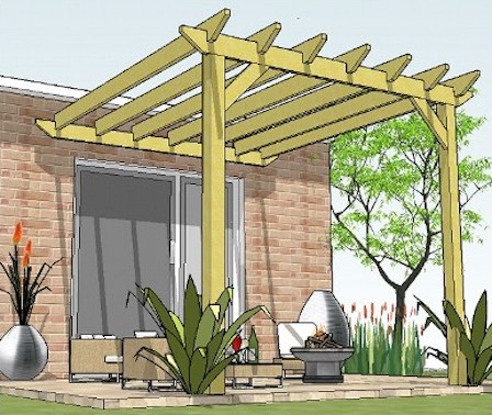 Copyright image: The original attached lean-to pergola plans, with straight rafter tails.