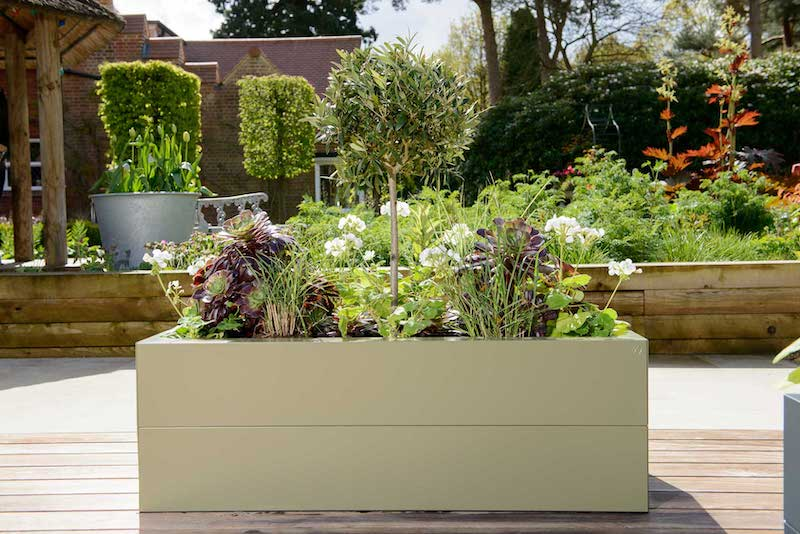 Contemporary metal raised beds.