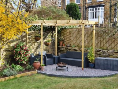 Copyright image: An amazing modern contemporary corner pergola made from the plans.