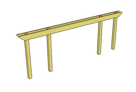 Copyright image:  Diagram showing long pergola beam span with double beams.