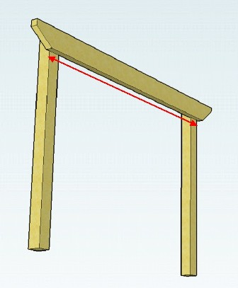 Copyright image:  Diagram showing the pergola beam span.