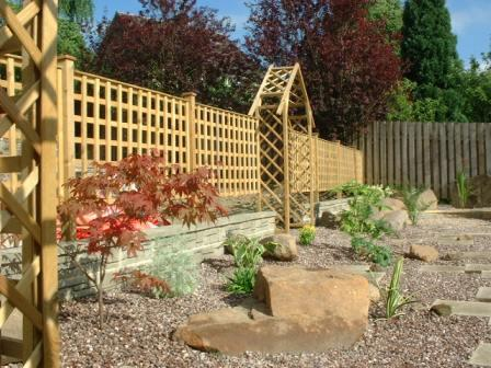 Copyright image: Garden makeover - a garden design plan showing arches with trellis.