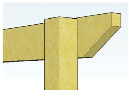 Copyright image:  Diagram showing un-notched post with rafter.