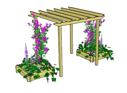 Copyright image: Raised bed used as pergola planters made from the free plans.