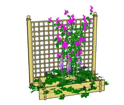 Copyright image: A raised bed planter with trellis made from the free plans.