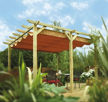 Verona and Sienna pergola shades and canopies by Rowlinson.
