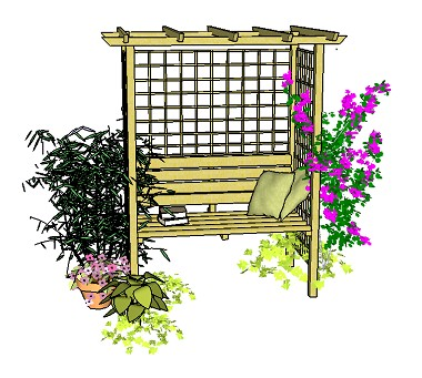 Copyright image: Pergola romance:  A lovely seated arbour with straight rafters, trellis and climbing plants.