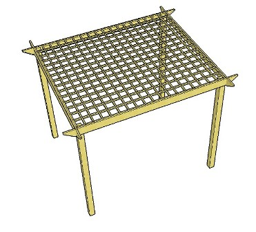 Copyright image: One of the free pergola plans, this simple pergola uses trellis for the roof.
