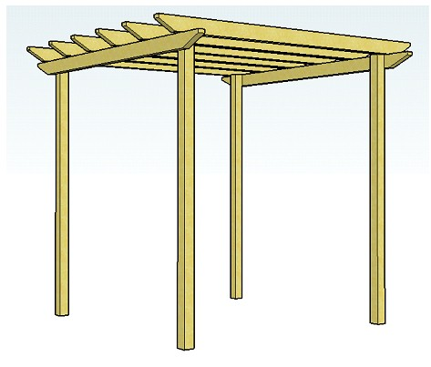 Copyright image: a simple pergola design made from the free pergola plans.